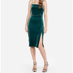 Dark forest green velvet sheath midi dress